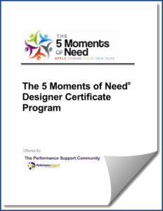 5 Moments of Need Designer Certificate Program September 2018